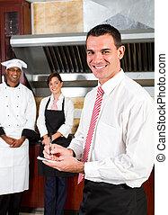 menedzser, boldog, étterem