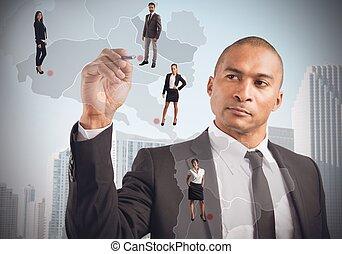 menedzser, elhelyez, dolgozók
