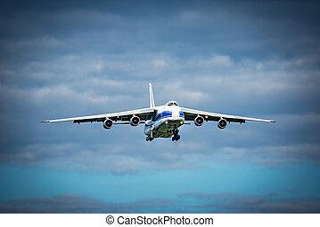 menekülés, közül, a, nagy, rakomány, airliner.