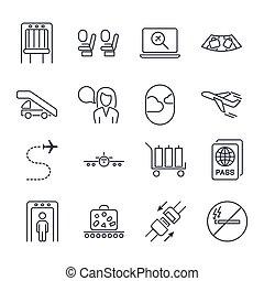 menekülés, utazás, útlevél, levegő, biztonság, nem, általános, ikon, vektor, repülőgép, repülőtér, felövez, ülés, set., deszkaburkolat, editable, smoking., ikonok, ábra, poggyász, felszállás, ütés, irány