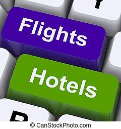menekül, és, hotel, kulcsok, helyett, honi területen kívüli,...
