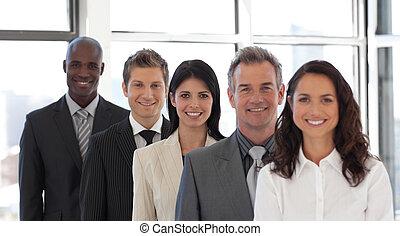 mener, affaires femme, équipe