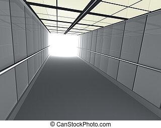 mener, couloir, lumière