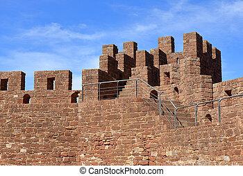 mener, de, étapes, menagem, torre, château, silves