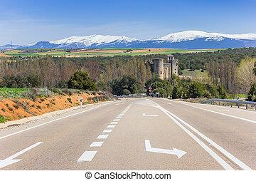mener, de, espagne, castillo, castilnovo, route