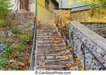mener, feuilles, couvert, baissé, maison, étapes, pierre