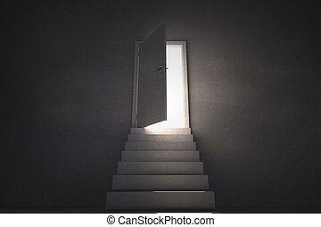 mener, lumière, porte, étapes, projection