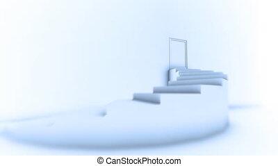 mener, sommet, escalier