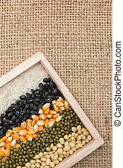 mengsel, graankorrel, lentils, erwtjes, bonen, droog, achtergrond