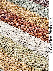 mengsel, soybeans, -, lentils, erwtjes, bonen, droog, achtergrond