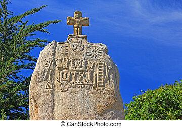 Menhir Saint Uzec, France - The christianized menhir of...