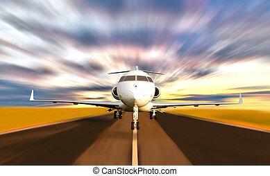 menig jet, flyvemaskine, aftagningen, hos, motion slør
