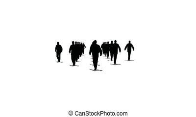menigte, de, richtingwijzer, vorm, marsen