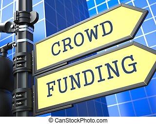 menigte, funding., gele, roadsign.