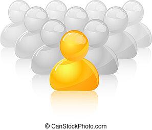 menigte, grijze , gele, persoon, uniek, uit, pictogram