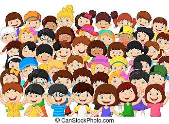 menigte, kinderen, spotprent