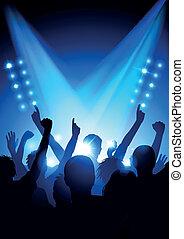 menigte, op, concert