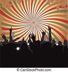 menigte, op, een, concert
