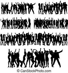 menigte, silhouettes