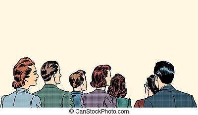 menigte, toeschouwers, stander, back