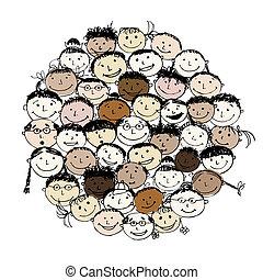 menigte, van, gekke , volkeren, schets, voor, jouw, ontwerp