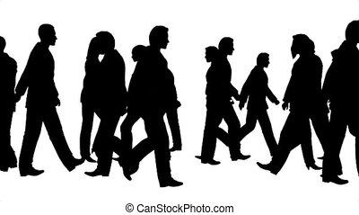 menigte, van, mensen, bewegingen