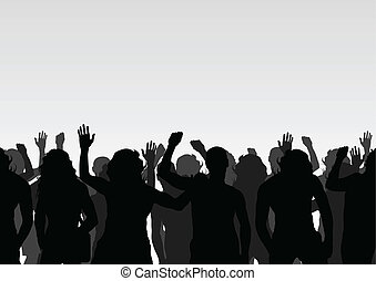 menigte, vector, achtergrond, landscape, protesters