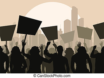 menigte, vector, protesters, achtergrond