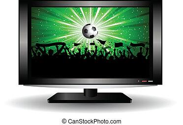 menigte, voetbal, televisie, lcd