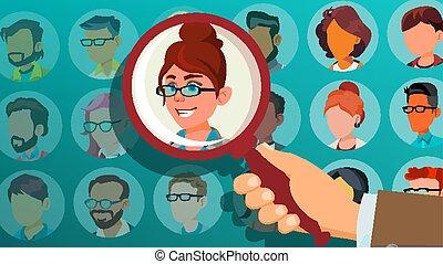 menigte., zakelijk, kandidaat, uit, person., team., illustratie, hand, werving, choice., stander, menselijk, plukken, pluk, werkgever, woman., spotprent, selekteer, vector.