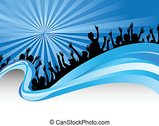 menigten, op, blauwe , straal, achtergrond
