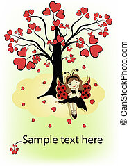 menina, árvore, cartão