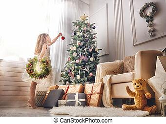 menina, árvore, natal, decorando