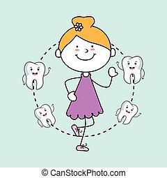 menina, ícone, isolado, dentes, desenho