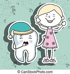menina, ícone, isolado, desenho, dente