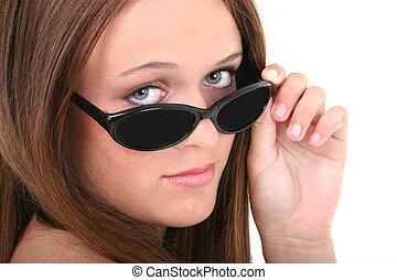 menina, óculos de sol, adolescente