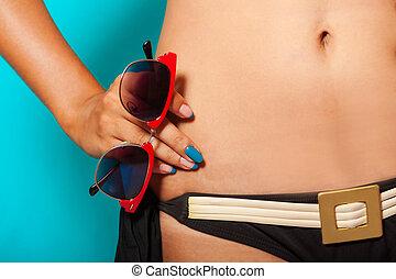 menina, óculos de sol, biquíni