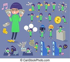 menina, óculos, dinheiro, verde, apartamento, tipo, roupas