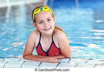 menina, óculos proteção, piscina, natação