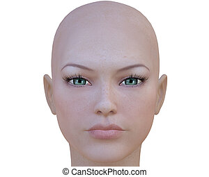 menina, 3d, cyber, rosto