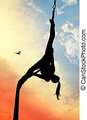 menina, aéreo, acrobático