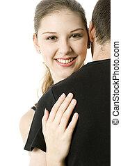 menina, abraçando, sujeito
