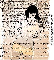 menina, abstratos