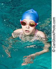 menina, acabamento, nadador