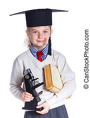 menina, acadêmico, pequeno, chapéu