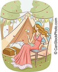menina, acampamento, glam