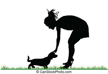 menina, acariciar, um, filhote cachorro, vetorial
