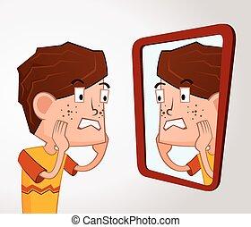 menina, acne, problema