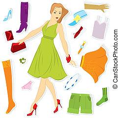 menina, adesivo, vetorial, roupas