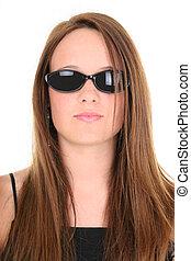 menina adolescente, óculos de sol